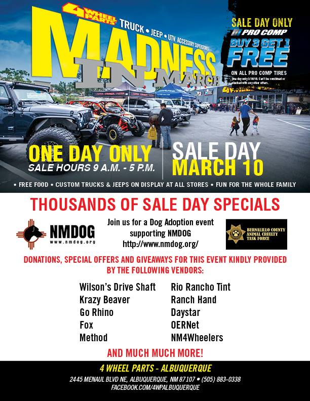 Madness in March Sale—Featuring NMDOG @ 4 Wheel Parts | Albuquerque | New Mexico | United States